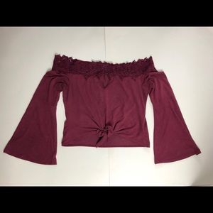 Charlotte Russe Maroon Off the Shoulder Top Sz S
